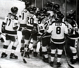The 1980 USA Men's Olympic Gold Medal winning hockey team celebrates. Bob Suter, #20, is in the foreground. Suter died September 9 at the age of 57.