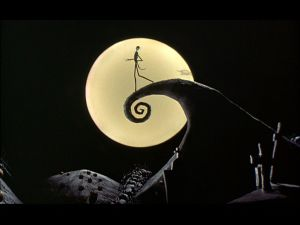 Jack overlooking Halloweentown in A Nightmare Before Christmas
